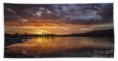 Sunset With Clouds Over Malibu Beach Lagoon Estuary Beach Towel
