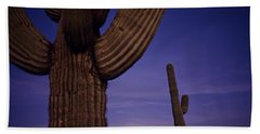 Sunset With Moonise Behind Saguaro Cactus In Desert Southwest Ar Beach Towel