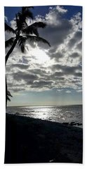 Sunset With Palm Trees Beach Towel by Pamela Walton