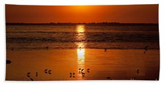 Beach Sheet featuring the photograph Sunset With The Birds Photo by Meg Rousher