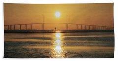 Beach Towel featuring the photograph Sunshine Skyway Bridge Sunrise by Steven Sparks