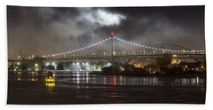 Super Moon And Triboro Bridge Beach Towel