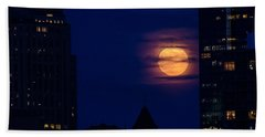 Beach Sheet featuring the photograph Super Moon Rises by Mike Ste Marie