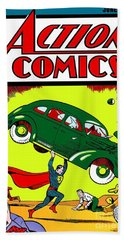 Superman Comic Book -1938 Beach Towel by Doc Braham