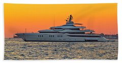 Superyacht On Yellow Sunset View Beach Sheet by Brch Photography