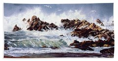Surf At Lincoln City Beach Towel by Craig T Burgwardt