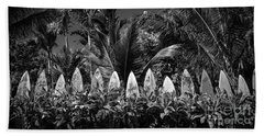 Beach Towel featuring the photograph Surf Board Fence Maui Hawaii Black And White by Edward Fielding