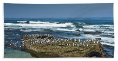 Surf Waves At La Jolla California With Gulls Perched On A Large Rock No. 0194 Beach Towel