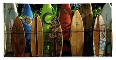Surfboard Fence 4 Beach Towel by Bob Christopher