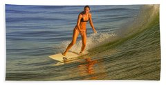 Surfer At Sun Glow Beach Towel
