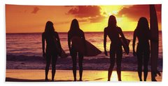 Surfer Girl Silhouettes Beach Towel