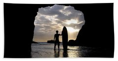 Surfer Inside A Cave At Muriwai New Beach Towel