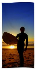 Surfer Silhouette Beach Towel
