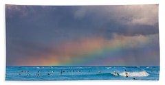 Surfers Under The Rainbow Beach Towel