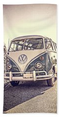 Surfer's Vintage Vw Samba Bus At The Beach Beach Towel