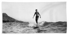 Surfing At Waikiki Beach Beach Towel