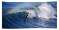 Surfing Under A Rainbow Beach Sheet by Catherine Sherman