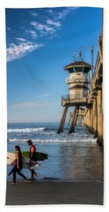 Beach Towel featuring the photograph Surf's Up by Tammy Espino