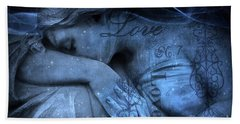 Surreal Blue Sad Mourning Weeping Angel Lost Love - Starry Blue Angel Weeping With Love Script Beach Sheet by Kathy Fornal