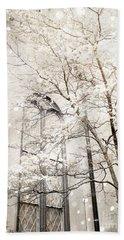 Surreal Dreamy Winter White Church Trees Beach Towel