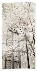Surreal Dreamy Winter White Church Trees Beach Sheet