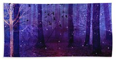 Surreal Fantasy Starry Night Purple Woodlands - Purple Blue Fantasy Nature Fairy Lights  Beach Towel by Kathy Fornal