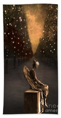 Surreal Gothic Angel Haunting Emotive Angel Sitting On Bench -fantasy Surreal Gothic Angel Prints Beach Sheet