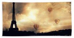 Paris Eiffel Tower Storm Clouds Sunset Sepia Hot Air Balloons Beach Towel