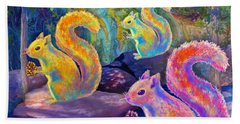 Surreal Squirrels In Square Beach Towel