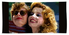 Susan Sarandon And Geena Davies Alias Thelma And Louis - Watercolor Beach Towel