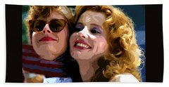 Susan Sarandon And Geena Davies Alias Thelma And Louis - Watercolor Beach Sheet by Doc Braham
