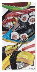 Beach Towel featuring the painting Sushi Bar Painting by Ecinja Art Works