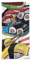 Sushi Bar Painting Beach Towel