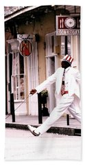 Beach Towel featuring the photograph New Orleans Suspended Animation Of A Mime by Michael Hoard