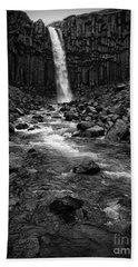 Svartifoss Waterfall In Black And White Beach Towel