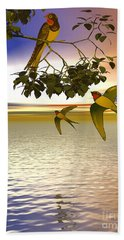 Swallows At Sunset Beach Sheet by Sandra Bauser Digital Art