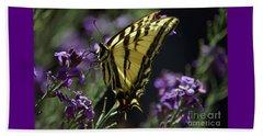 Swallowtail Butterfly On Lavender  Beach Sheet