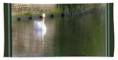Beach Towel featuring the photograph Swan In The Canal by Victoria Harrington