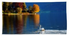 Beautiful Autumn Swan At Lake Schiliersee Germany  Beach Towel