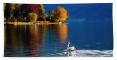 Beautiful Autumn Swan At Lake Schiliersee Germany  Beach Sheet
