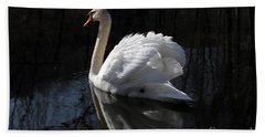 Beach Towel featuring the photograph Swan With Reflection  by Eleanor Abramson