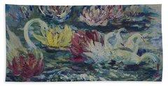 Swans In Lilies  Beach Towel