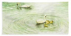 Swans In St. Pierre Beach Towel