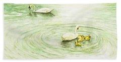 Swans In St. Pierre Beach Sheet