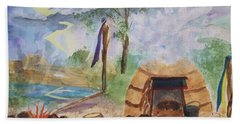 Sweat Lodge Beach Towel by Ellen Levinson