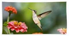 Beach Towel featuring the photograph Sweet Promise Hummingbird by Christina Rollo