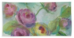 Beach Towel featuring the painting Sweetness Floral Painting by Mary Wolf