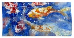 Swimming Koi Fish Beach Towel