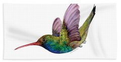 Swooping Broad Billed Hummingbird Beach Towel by Amy Kirkpatrick