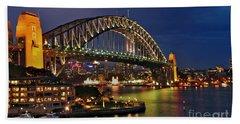 Sydney Harbour Bridge By Night Beach Sheet